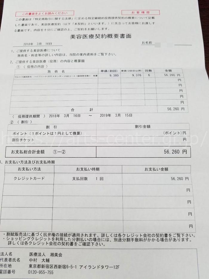 湘南美容外科のVIO脱毛6回56,260円の契約書