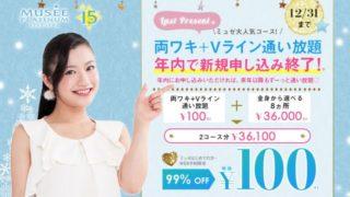 ミュゼ 両ワキ・Vライン100円キャンペーン 年内終了