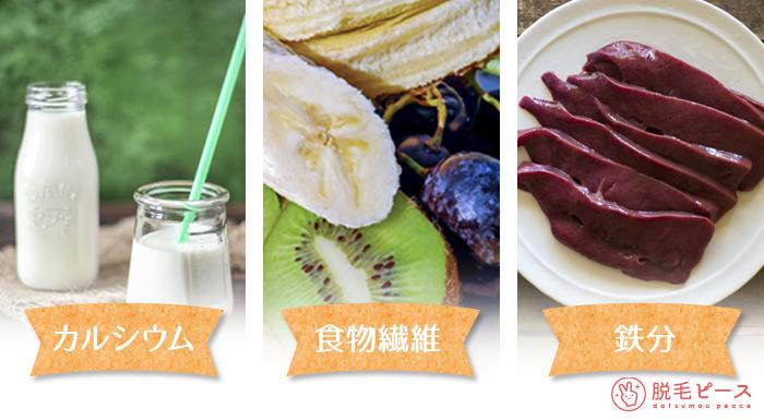 食事は、『カルシウム』『食物繊維』『鉄分』を意識しよう!