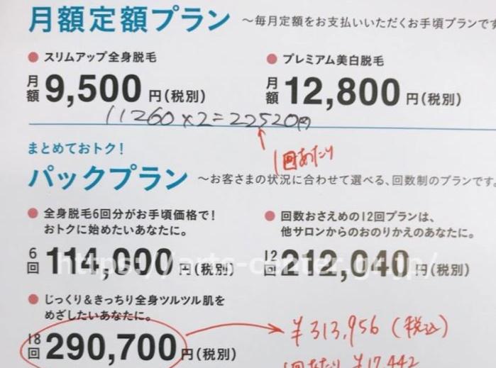 キレイモの料金表(カウンセリングでもらったパンフレット)