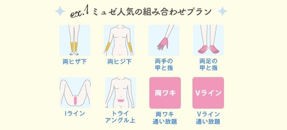 ミュゼキャンペーン50円脱毛組み合わせ例