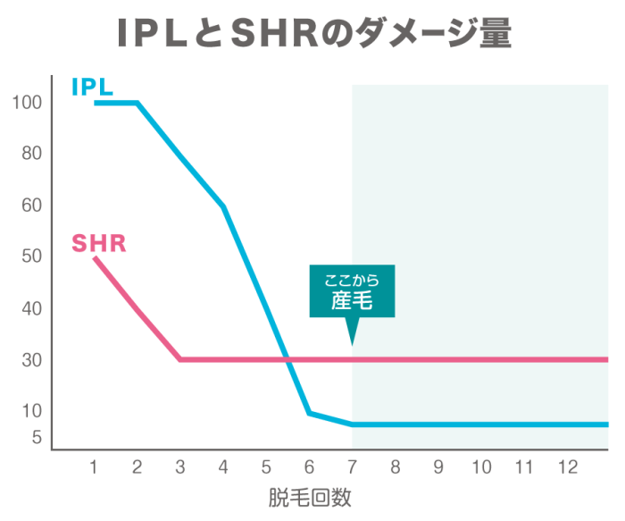 SHR脱毛とIPL脱毛の効果の出方を比較